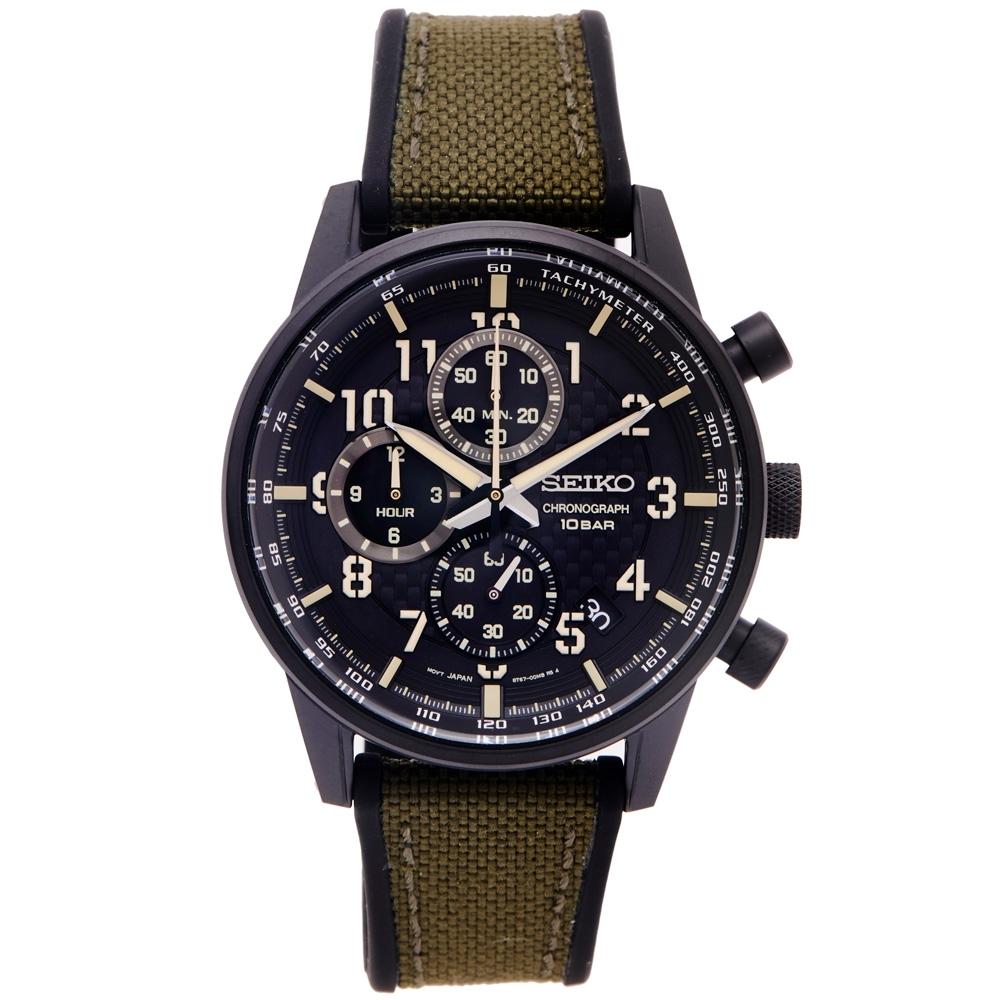 SEIKO 率性時尚三眼計時橡膠與帆布帶材質錶帶手錶(SSB373P1)-黑色面/42mm