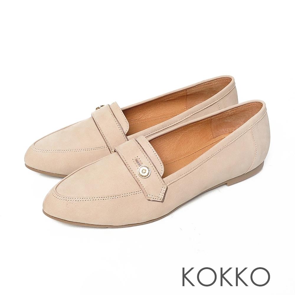KOKKO超彈力尖頭牛麂皮鈕扣寬版平底鞋中性灰色