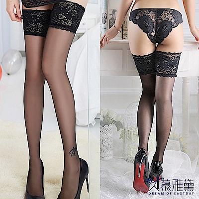 大腿襪 性感蕾絲透明超薄大腿絲襪。黑色 久慕雅黛