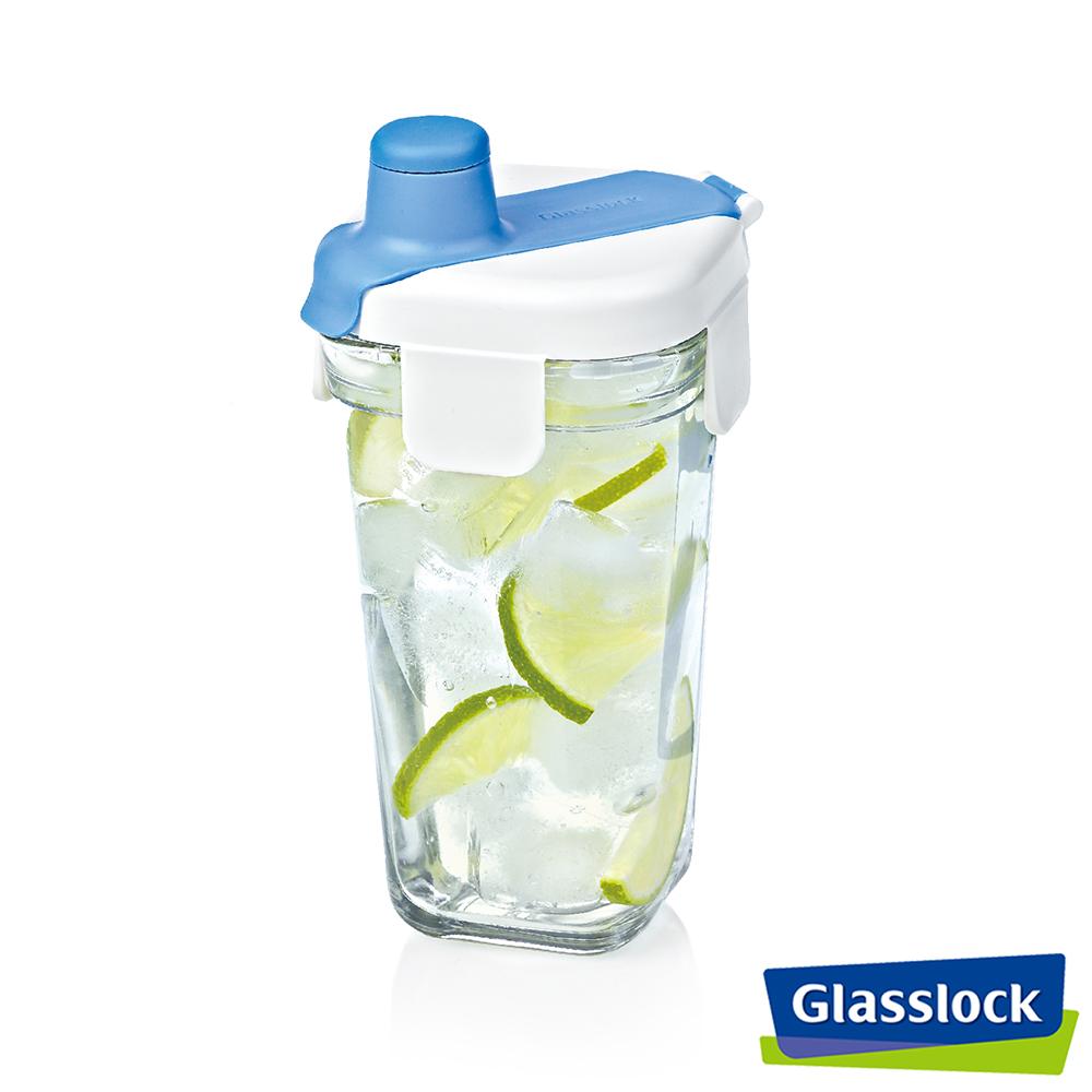 新品上市!Glasslock 強化玻璃方形隨行杯380ml-海洋藍