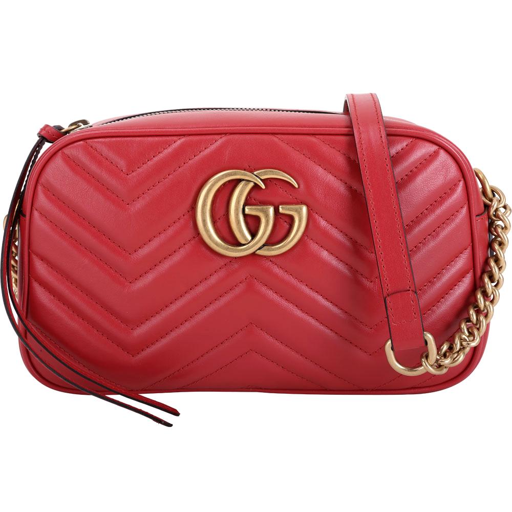 GUCCI GG Marmont Matelasse V型絎縫牛皮斜背包(紅色)GUCCI