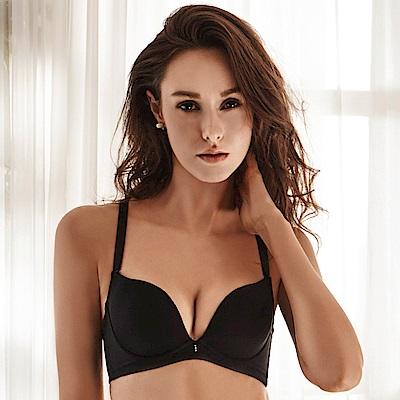 LADY 秘密情人系列 B-E罩 深V無縫內衣(搖滾黑)