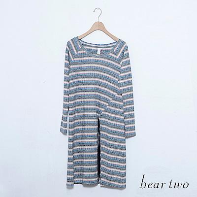 beartwo V領條紋側抽繩造型長版上衣(二色)
