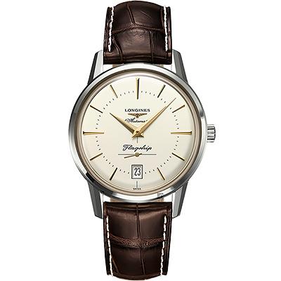 LONGINES浪琴 Heritage 旗艦復刻小秒針機械錶-米x咖啡/38.5mm