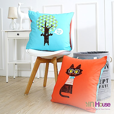IN-HOUSE 繽紛系列抱枕-貓與樹(50x50cm)