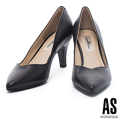 高跟鞋 AS 經典俐落純色全真皮尖頭高跟鞋-黑