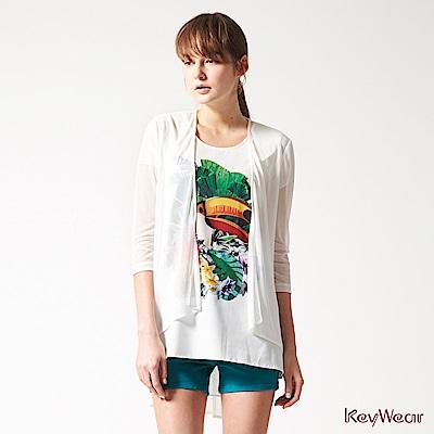KeyWear奇威名品    歐美風時尚鮮豔印花短袖上衣-白色