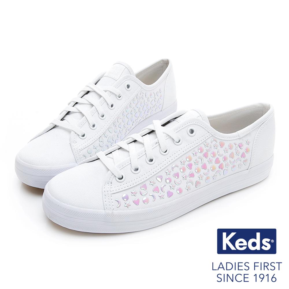 Keds KICKSTART 閃爍星空帆布鞋-白