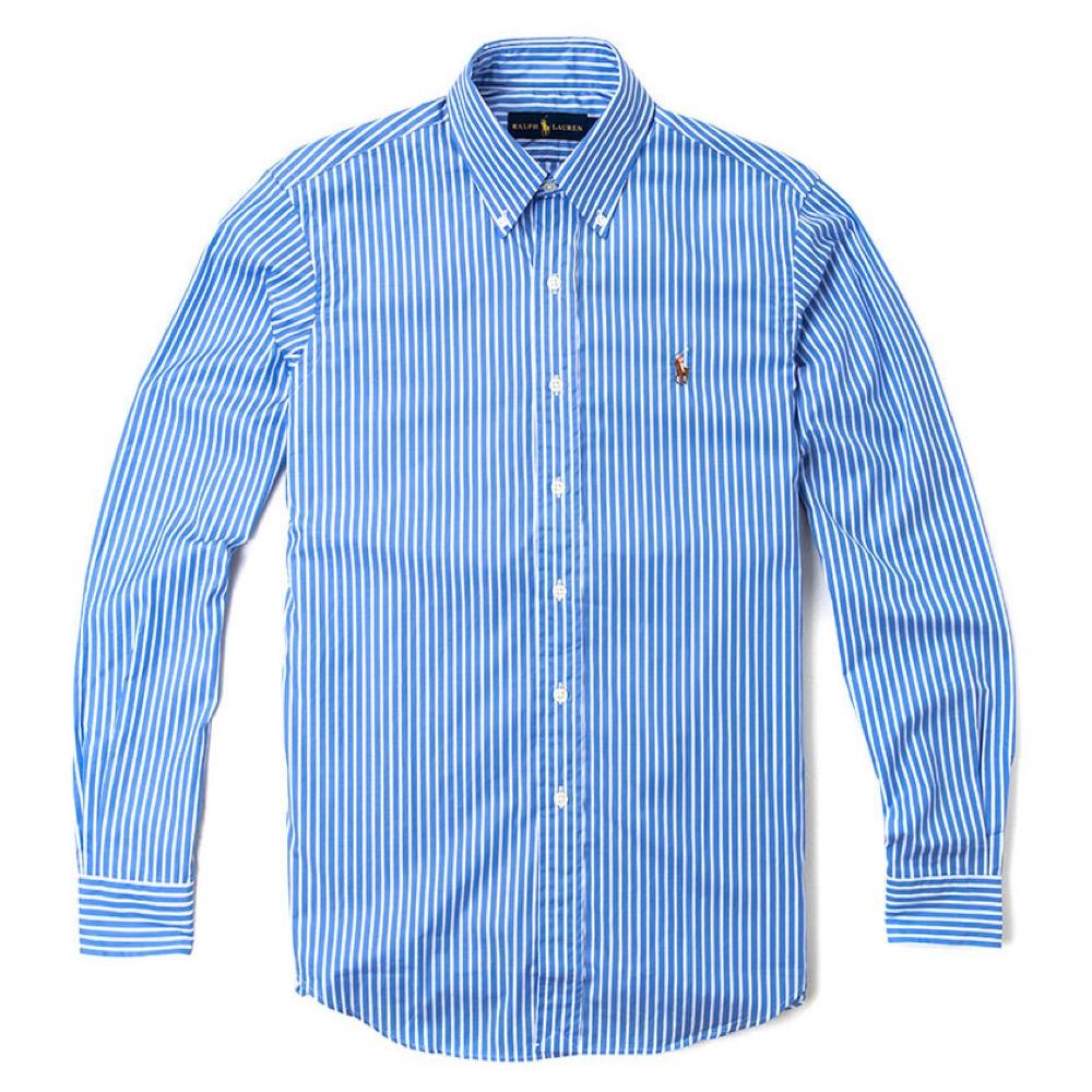 Polo Rlaph Lauren 經典刺繡標誌長袖襯衫-藍白色