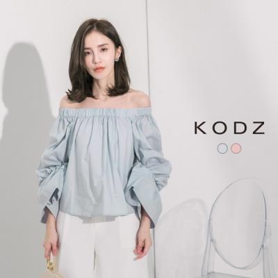東京著衣-KODZ 小心機性感一字領澎澎袖上衣-S.M.L(共二色)
