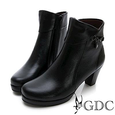 GDC-真皮優雅反摺水鑽低跟小短靴-黑色