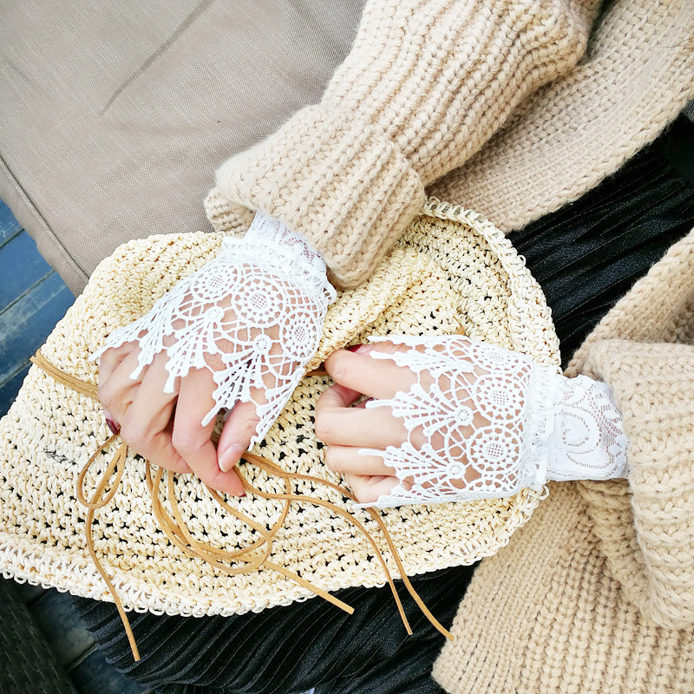 梨花HaNA 韓國浪漫風潮層次搭配蕾絲假袖套新款