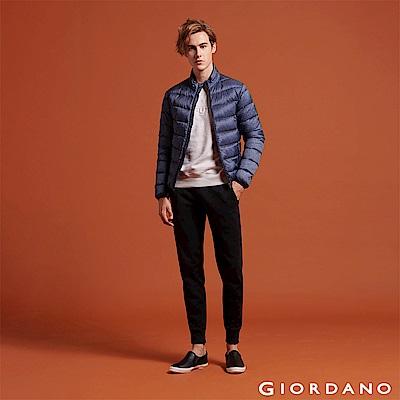 GIORDANO 男裝基本款棉質休閒運動束口褲-03 標誌黑