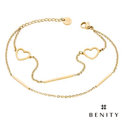 BENITY 心瓣 細緻手鍊 典雅款式 醫療級抗敏 白鋼 IP黃K金 女手鍊