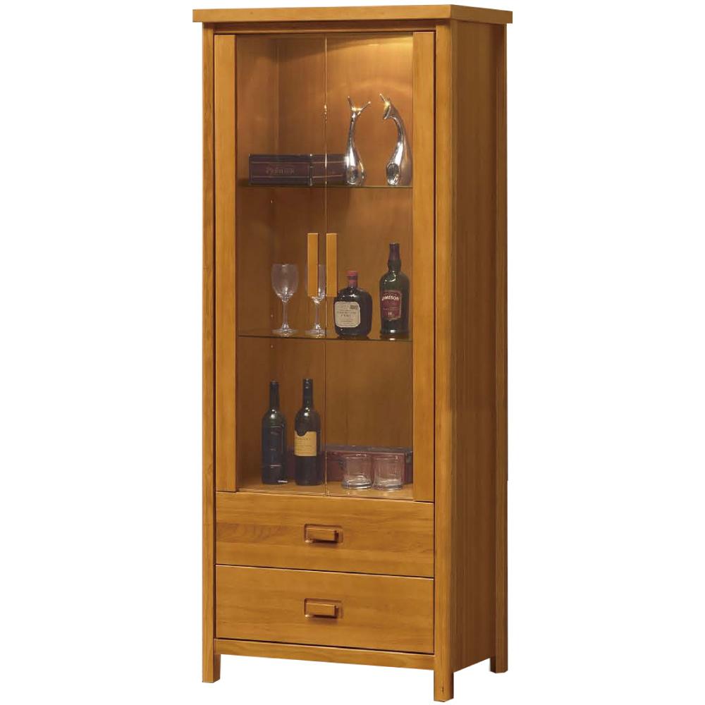 綠活居 博斯時尚2.3尺實木展示櫃/收納櫃-81x45x195cm免組