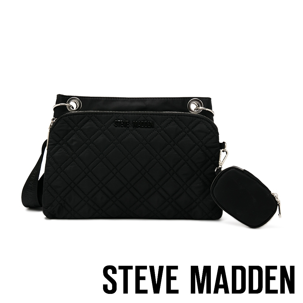 STEVE MADDEN-BJAVA 菱格紋側背子母包-黑色