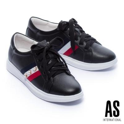 休閒鞋 AS 時髦格式珍珠織帶全真皮綁帶厚底休閒鞋-黑