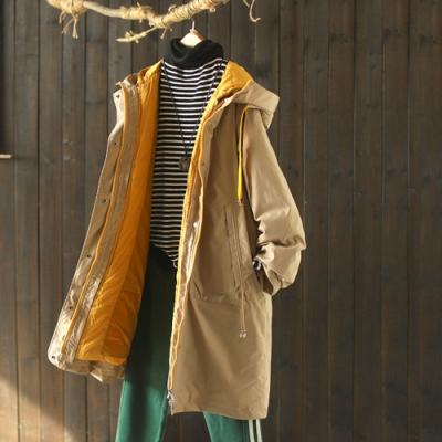 可拆卸兩件套連帽羽絨服兩穿風衣式棉衣外套-設計所在