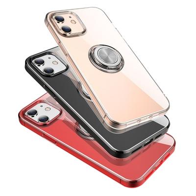 iPhone12mini手機殼 TPU 透明 指環支架 手機保護殼 透黑款