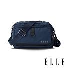 ELLE 都市再生系列 輕量多隔層搭配皮革設計休閒斜/側背包-藍 EL83513