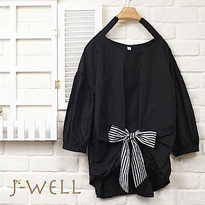 J-WELL 蝴蝶結七分泡泡袖上衣(3色)
