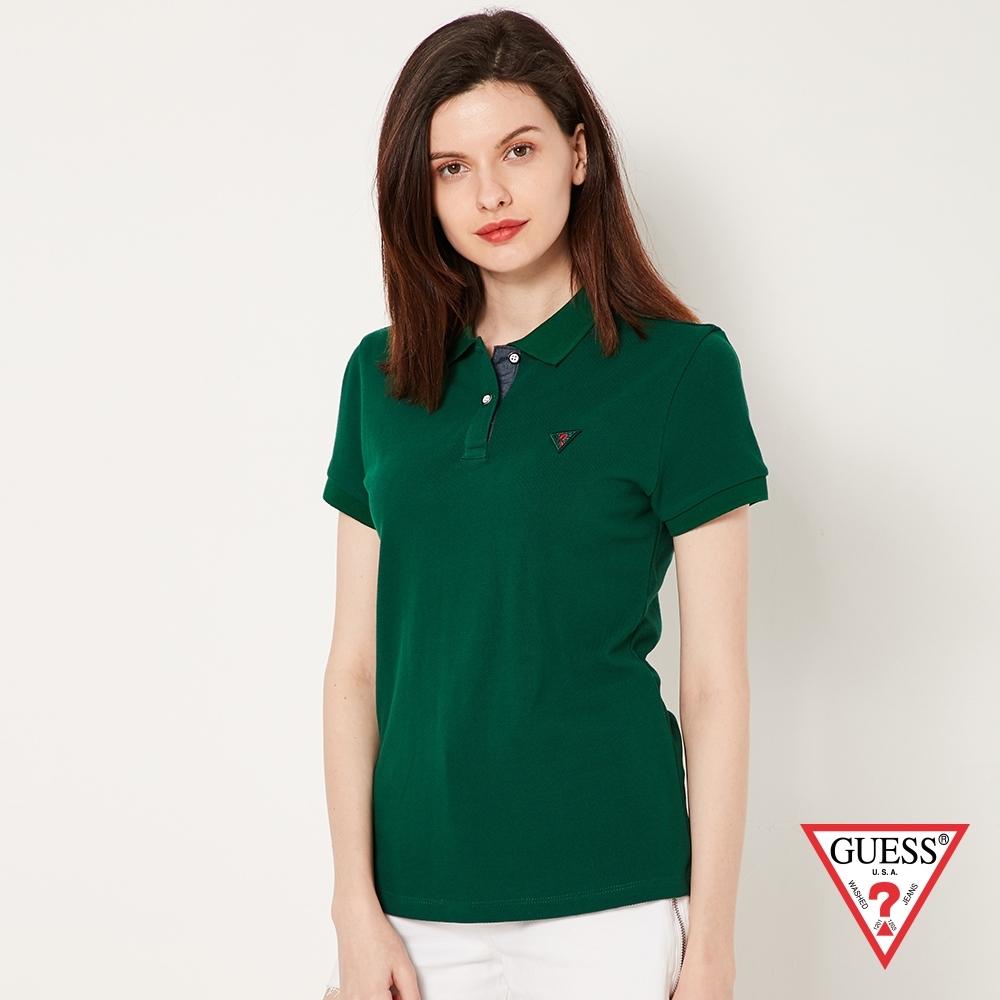 GUESS-女裝-刺繡問號LOGO短袖POLO衫-綠 原價1790
