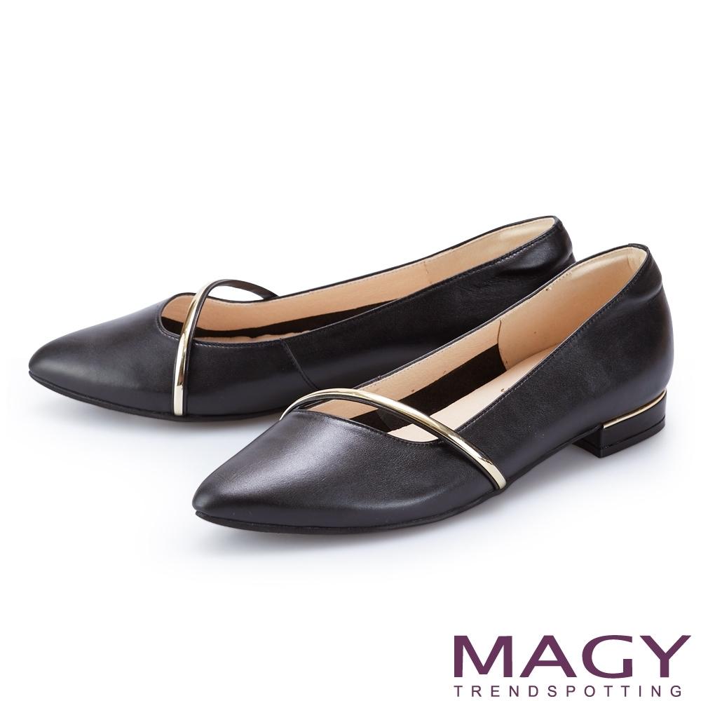 MAGY 金屬飾條裝飾真皮尖頭 女 平底鞋 黑色