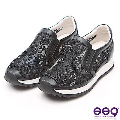 ee9 迷人視覺異材質拼接電繡鑲嵌水鑽休閒鞋 黑色