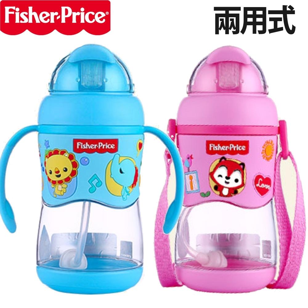 【優貝選】費雪俏皮動物 兩用可替換式雙柄學習杯/背帶水壺(400ML)