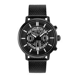 Kenneth Cole 紐約時尚冷都騎士腕錶-黑(KC50572003)-42mm