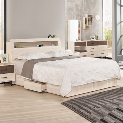 Boden-比恩6尺雙人加大床組(床頭箱+三抽收納床底)(不含床墊)