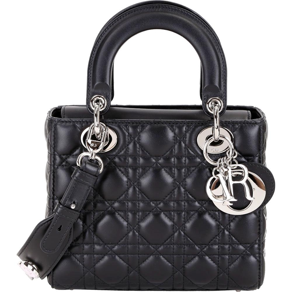DIOR My Lady Dior 黑色經典藤格紋與幸運徽章揹帶提包