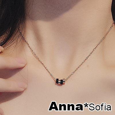 AnnaSofia 雙色多圈環 白鋼鎖骨鍊項鍊(金系)