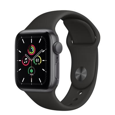 Apple Watch SE (GPS) 40mm 灰色鋁金屬錶殼+黑色錶帶(MYDP2TA/A)