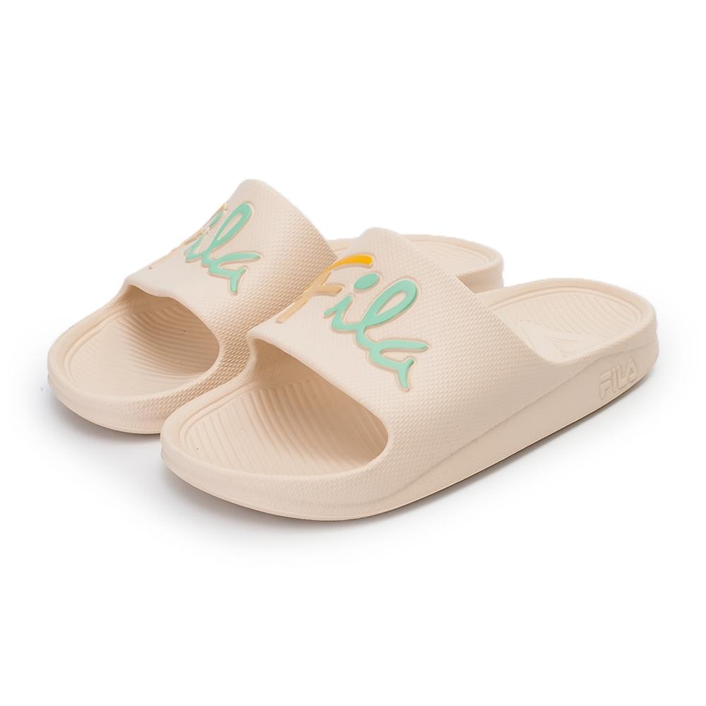 【FILA】輕量防水一片式拖鞋 草寫LOGO 女鞋-粉黃(4-S326V-996)