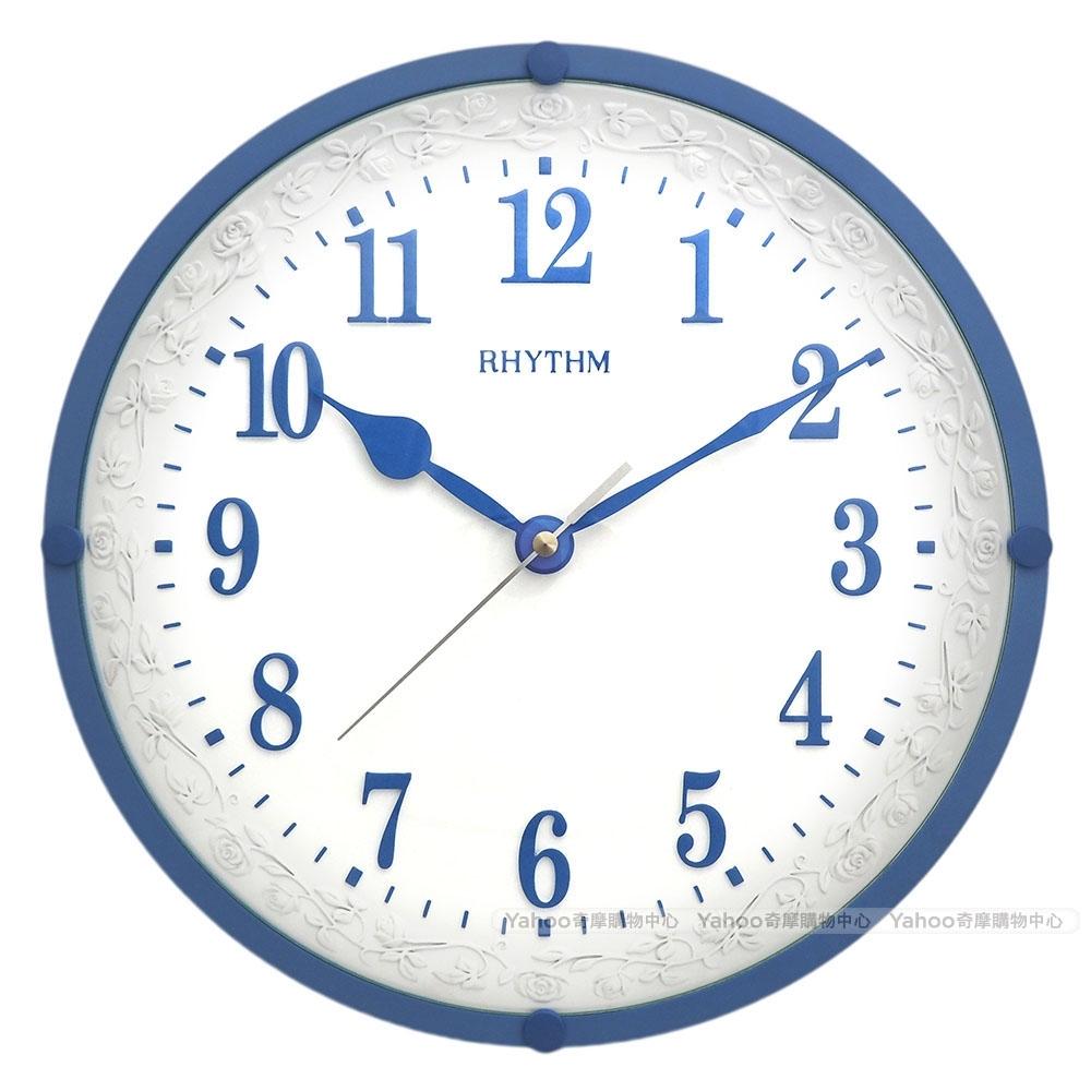 RHYTHM日本麗聲 宮廷玫瑰園優雅超靜音掛鐘(藍)/31cm