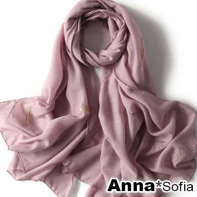 AnnaSofia 立體金羽線繡 柔軟棉麻披肩圍巾(藕粉系)
