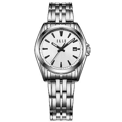 ELLE 知性簡約不鏽鋼女錶-白/25mm