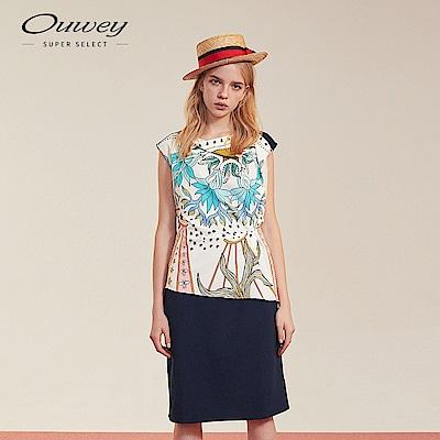 OUWEY歐薇 神秘塔羅絲巾印花洋裝(藍)