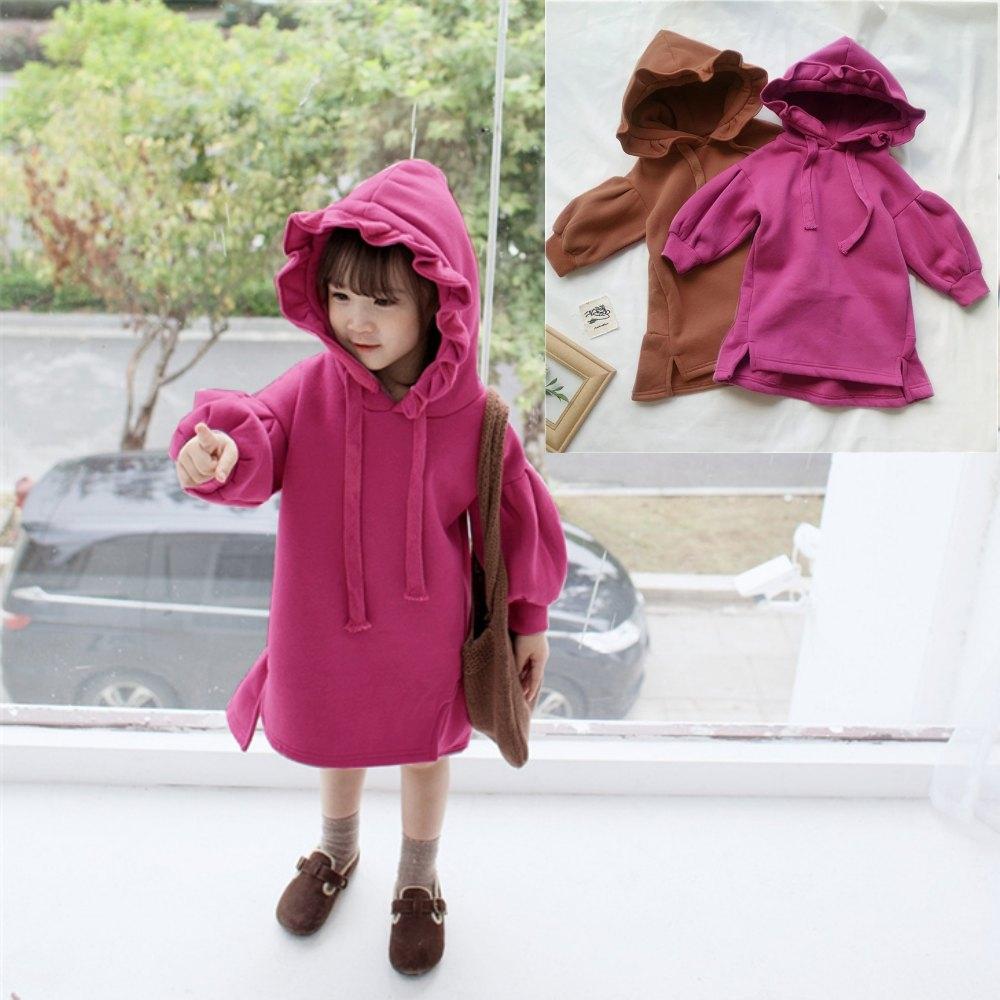 小衣衫童裝   女童花苞帽子燈籠袖內裡刷毛連身裙1071118