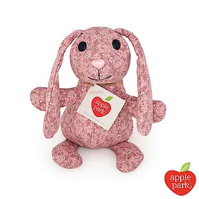 美國 Apple Park 有機棉印花玩偶禮盒 - 長耳兔(粉紅花瓣)