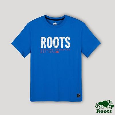 Roots男裝-開拓者系列 等高線文字LOGO短袖T恤-藍色