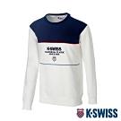 K-SWISS Colorblock Sweaters圓領長袖上衣-男-白