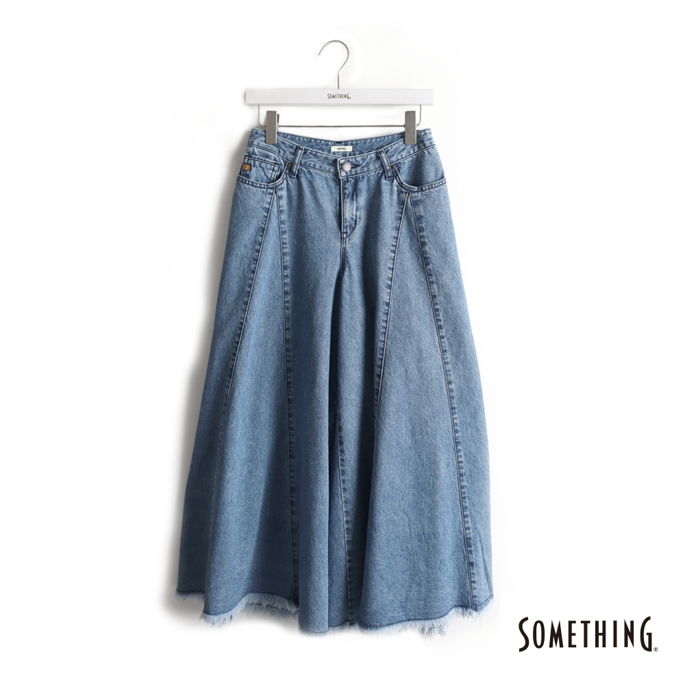 SOMETHING 復古風牛仔剪接寬褲-女-中古藍