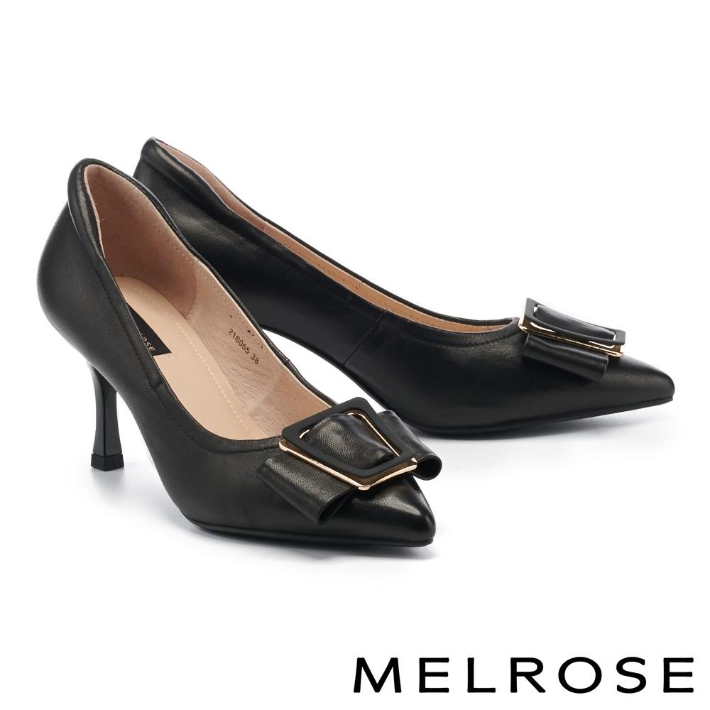 高跟鞋 MELROSE 質感時尚繫帶飾釦全真皮尖頭高跟鞋-黑