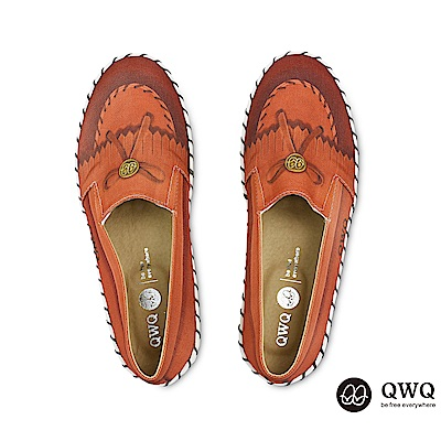 QWQ防潑水彩繪女包鞋 莫卡辛-咖啡色