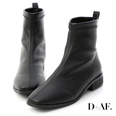 D+AF 定番焦點.柔軟皮革車線方頭襪靴*黑