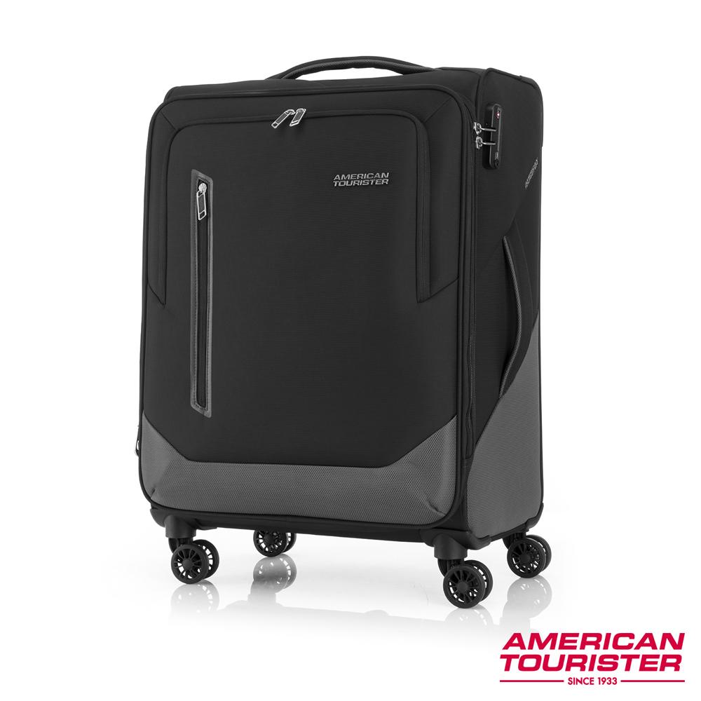 AT美國旅行者 24吋Kirby 可擴充大容量雙輪布面登機箱(黑)