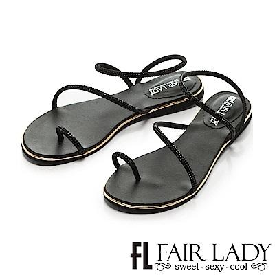 Fair Lady 低調奢華水鑽繞帶穿趾涼鞋 黑