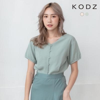 東京著衣-KODZ 簡約百搭V領排釦收腰短版上衣-S.M.L(共二色)